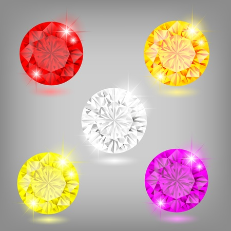 ruby stone: Vector illustration - set of colored diamonds  EPS 10  RGB  Created using transparency, gradient mesh and blending modes