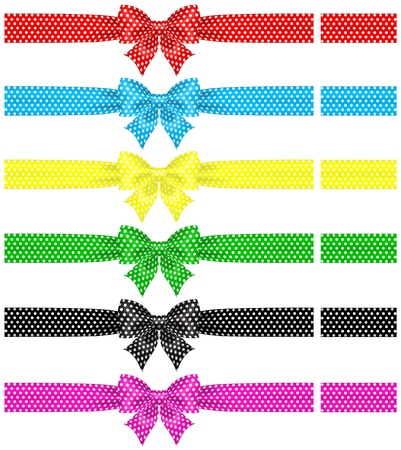pink bow: Vector illustration - collection of polka dot bows with ribbons RGB  Created with gradient mesh and blending modes