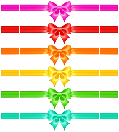pink bow: Vector illustration - collection of bows with ribbons of warm colors    Illustration
