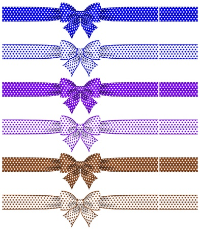 blue bow: Vector illustration - collection of bows polka dot with ribbons    Illustration