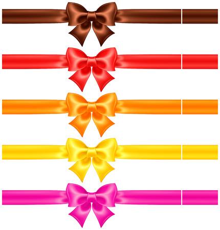 リボンと温かみのある色調の絹の弓のコレクション  イラスト・ベクター素材