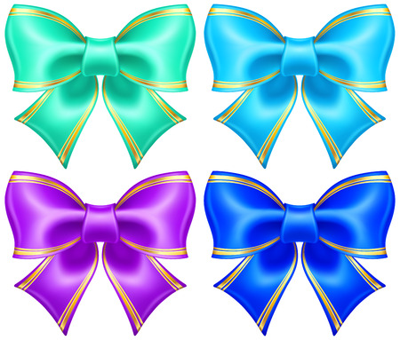 silk ribbon: collection of silk bows in cool colors with golden edging