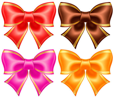 pink bow: collection of silk bows in warm colors with golden edging