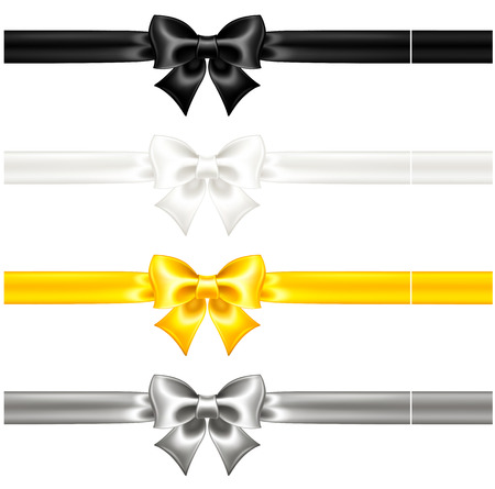 Vector illustration - collection of silk bows with ribbons  EPS 10, RGB  Created with gradient mesh