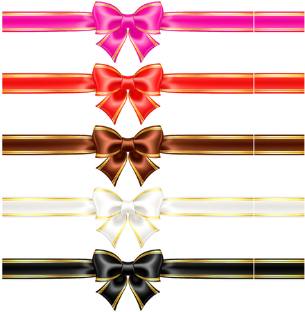 Vector illustration - collection of silk bows in warm colors with golden edging and ribbons  EPS 10, RGB  Created with gradient mesh  Vector