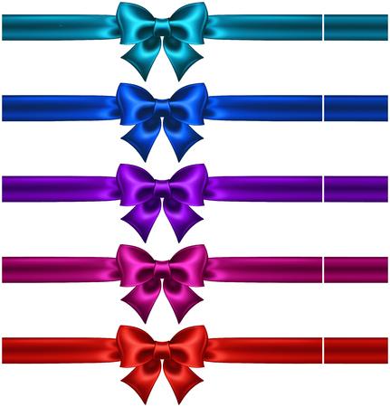 burgundy ribbon: Vector illustration - insieme di fiocchi di seta in colori scuri con nastri EPS 10, RGB creati con gradiente maglie