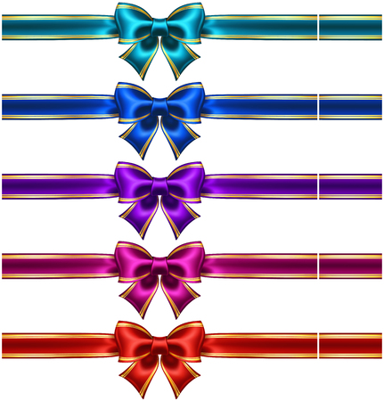 cerulean: Vector illustration - collection of silk bows in dark colors with ribbons and golden edging  EPS 10, RGB  Created with gradient mesh