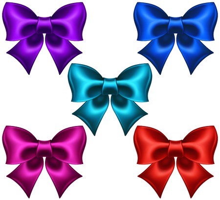 cerulean: Vector illustration - collection of silk colored bows  EPS 10, RGB  Created with gradient mesh  Illustration