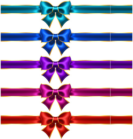 Vector illustration - collection of holiday bows with gold border and ribbons  EPS 10, RGB  Created with gradient mesh