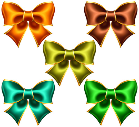 Vector illustration - collection of holiday bows with gold edging  EPS 10, RGB  Created with gradient mesh