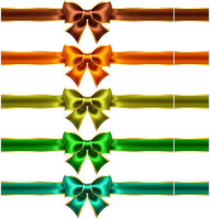 edging: Vector illustration - collection of holiday bows with gold edging and ribbons  EPS 10, RGB  Created with gradient mesh