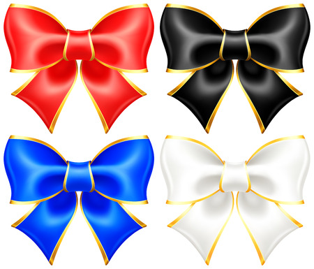 hem: Vector illustration - collection of black and white holiday bows with gold border  EPS 10, RGB  Created with gradient mesh  Illustration