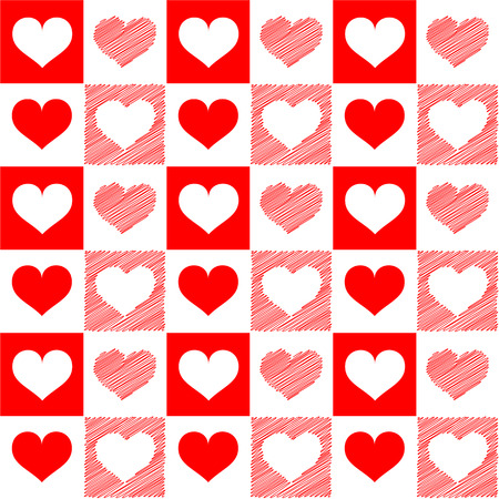 vector hearts: Vector illustration - seamless red white hearts sketch