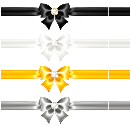 Vector illustration - silk bows black and gold with diamonds and ribbons  Vector