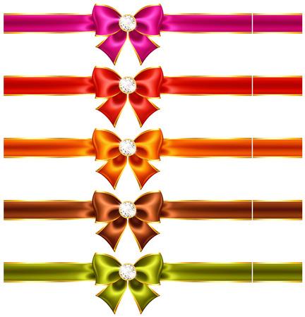 ribbons vector: Vector illustration - holiday bows with diamonds and ribbons