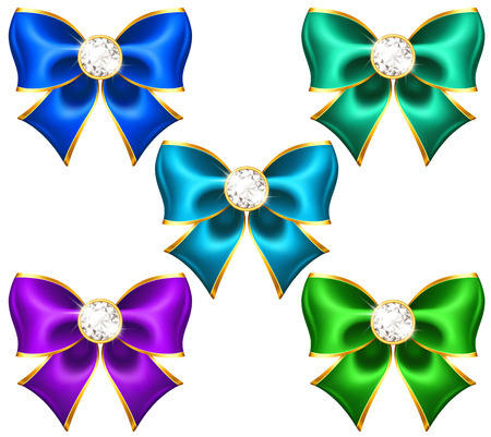 Vector illustration - festive bows with diamonds   Vector
