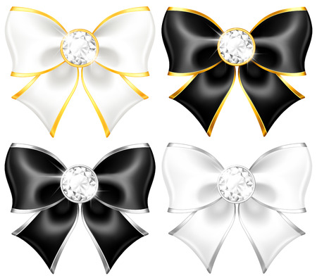Vector illustration - white and black bows with diamonds and gold edging    Vector