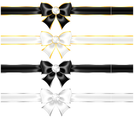 Vector illustration - white and black bows with diamonds gold edging and ribbons   Illustration