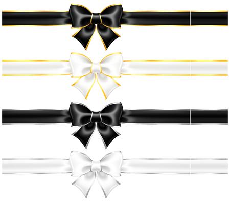 ruban noir: Vector illustration - rubans blancs et noirs avec de l'or et bordure en argent et rubans
