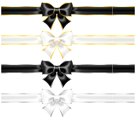 Vector illustration - white and black bows with gold and silver edging and ribbons   Illustration