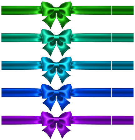 cerulean: Vector illustration - festive bows in cool colors with ribbons
