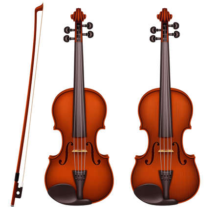 Realistic vector detailed brown violin with fiddlestick isolated on a white background. Classical stringed musical instrument with wooden texture. Layout design for banners and presentations