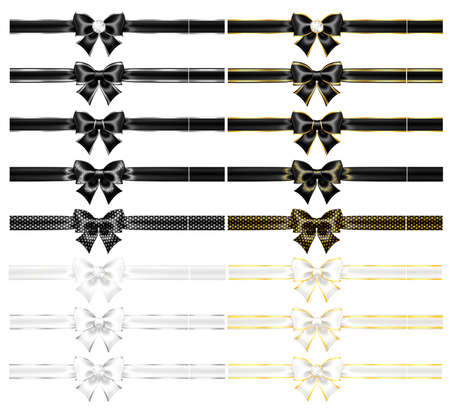 Realistic vector black and white bows and ribbons with gold, silver edgings, gems, glitter isolated on a white background. Festive bows are perfect for creating gift, wedding cards and gift vouchers