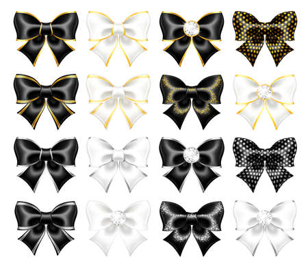 Realistic vector black and white bows with gold, silver edgings, gems, glitter isolated on a white background. Festive bows are perfect for creating gift, wedding cards and gift vouchers