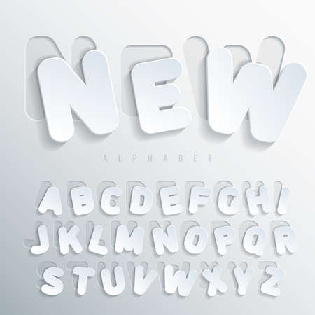 glued: Sticker alphabet. Carved base of white cardboard letters, placed on the right side of this base with varying degrees of bias. Volumetric letters with thin round-up angles. Vector illustration