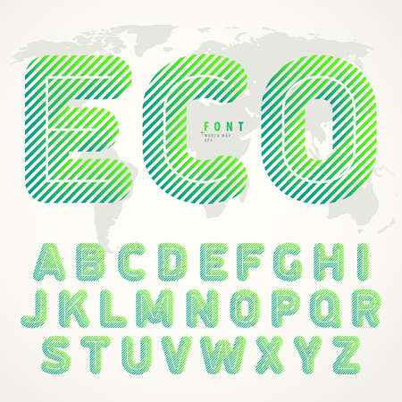 Striped ECO font. Roundish letters with slanted green lines. Best to use for eco posters, bio labels, in presentations headlines and titles for conferences. Vector illustration.