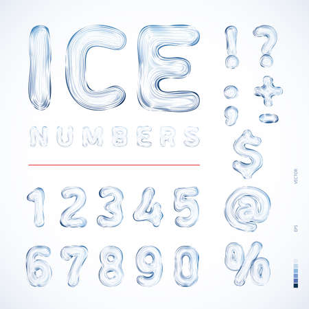 percentage sign: Alphabet Ice. Translucent symbols, numbers in the form of a color pattern and ice patterns. Best for use in posters, cards, headlines and web design Vector illustration Illustration