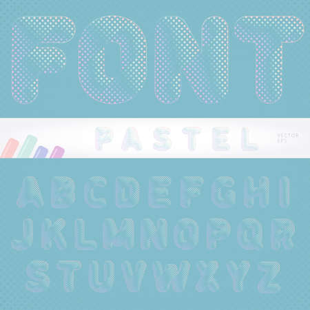 iridescent: Gentle and attractive pastel font designed for all backgrounds with iridescent color of dots on the letters can be used for printed cards, tegs, labels. Vector illustration.
