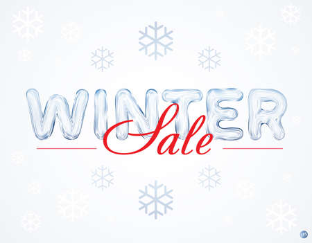 coldness: Winter sale inscription with ice letters and snowflakes. Sale. Winter sale. Christmas sale. New year sale. Vector design elements.