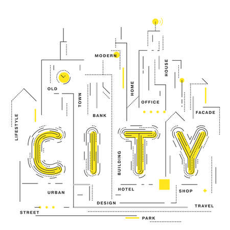 premises: Flat style, thin line art design. An outline of the city is digitally designed on a white spread. Modern concept of vector illustration. Best used as presentation, posters or as icons. Illustration