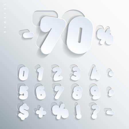 Sticker alfabet. Gesneden basis van wit karton letters, die op de rechterkant van deze basis met een verschillende mate van vooringenomenheid. Brieven volume met dunne round-up hoeken. vector illustratie