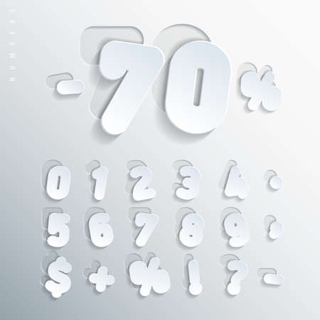 Sticker alphabet. Carved base of white cardboard letters, placed on the right side of this base with varying degrees of bias. Volumetric letters with thin round-up angles. Vector illustration
