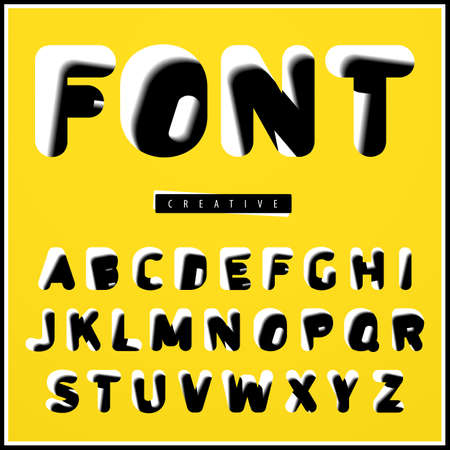 right side: Black and white font with a shifted basis of the right side of its contours. With a slight slope of the vertical of the letters. Vector illustration