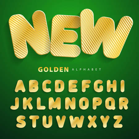 striped texture: Gold striped texture ABC. Stickers alphabet. Gold font Imitating cardboard, paper surfaces. For a wide use in advertising and web. Suitable for posters, banners, cards, shop. Vector illustration. Illustration