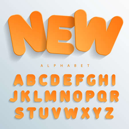 Orange flat font without angles with a falling shadow on the left side. Easy and simple approach to design of banners, posters and colorful cards. Vector Illuctration Illustration