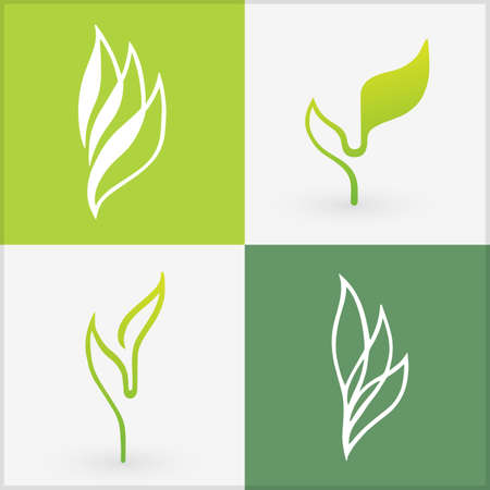 Organic icons elements. Bio set of four differently designed leaves.