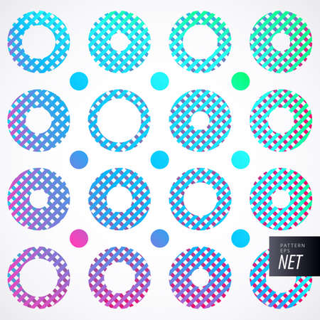 performed: Multicolored pattern with sophisticated palette. Different sizes of circles performed diagonal stripes. Suitable for festive backgrounds, cards, posters, banners. Illustration