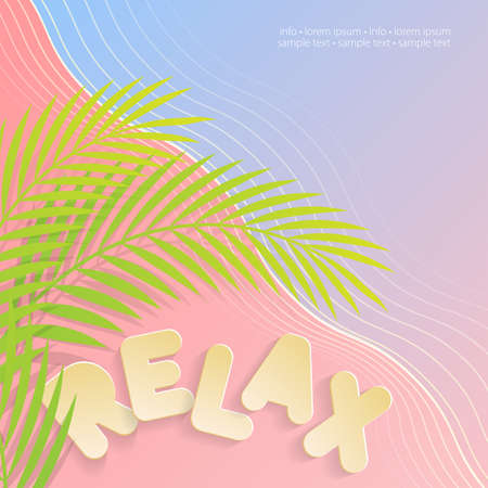 unwind: Relax on the beach. Wavy backdrop with blue and pink colors with a text written Relax in bold. Sample of illustration.