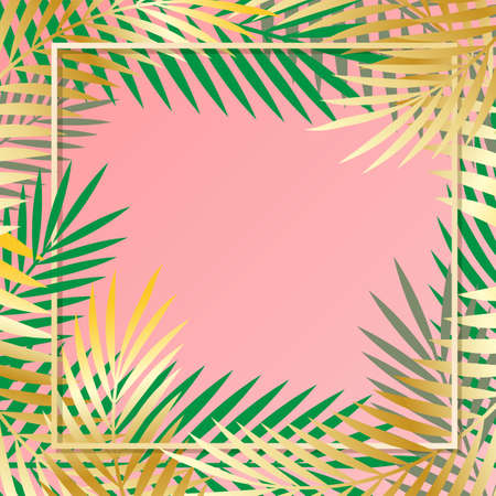Green and gold tropical palm leaves as a border on a solid pink background. Sample of an illustration.