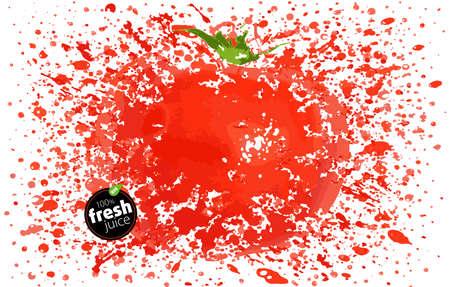 Tomate con un chorrito de jugo fresco. Explosión y salpicaduras de jugosa fruta madura. Fondo blanco, ilustración vectorial