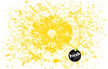 Cytryna z odrobiną świeżego soku. Eksplozja i rozpryski dojrzałych soczystych owoców. Białe tło Ilustracja – Vector Ilustracje wektorowe