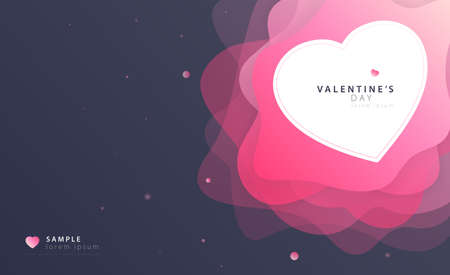 Valentine's day bright futuristic pink space background with 3D abstract liquid layers paper cut waves trendy love heart. Greeting card vector design layout for banners, templates, doodles. EPS 10