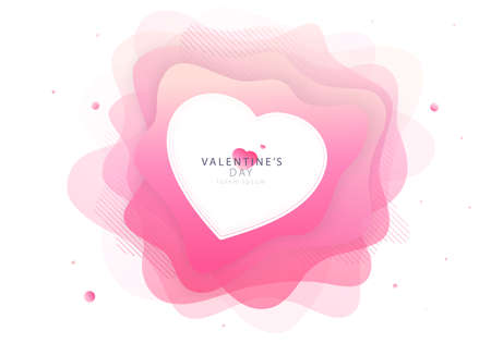 Valentine's day trendy modern invitation card design. Pink liquid shapes flower with lines and heart. Love, futuristic light balloons. EPS 10 illustration Illustration