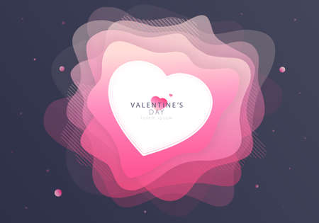 Pink liquid shapes flower rose with love heart. Valentine's Day futuristic and space background design shape. Eps10 vector Vektorové ilustrace
