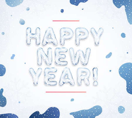 Happy New Year greeting cards! Creative winter ice font lettering and snow splash blue paints. Best for use in invitation, banner, poster and web design. Abstract vector illustration. Illusztráció