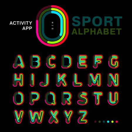 Linea di caratteri colorati luminosi scritti simmetricamente su uno sfondo nero. Alfabeto di concetto moderno da utilizzare per un'attività di app, interfaccia e sport. Esempio di illustrazione vettoriale.